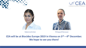 CEA to attend Biocides Europe 2019 in Vienna on 3rd - 4th December 2019
