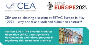 CEA has proposed a session for SETAC Europe in May 2021 and we invite you to submit abstracts