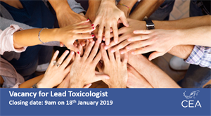 Job vacancy for a Lead Toxicologist