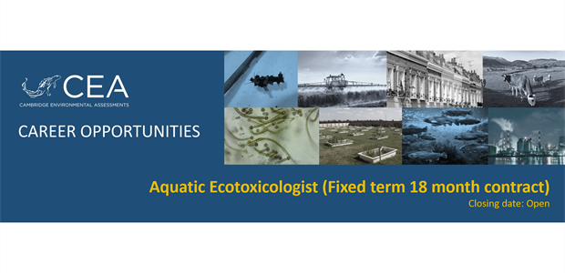 Job vacancy for an Aquatic Ecotoxicologist